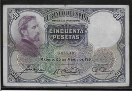Espagne - 50 Pesetas - 1931 - Pick N°82 - TB - 50 Pesetas