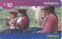 TARJETA DE PERU DE TELEFONICA HOLAPERU DE 10 SOLES DE TIRADA 125000 Y FECHA 02/06 (LLAMA) - Peru