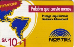 TARJETA DE PERU DE NORTEK DE 10 SOLES - Peru