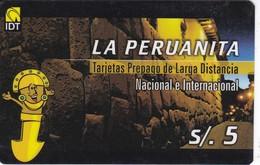 TARJETA DE IDT DE PERU DE LA PERUANITA DE 5 SOLES - Peru