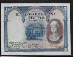 Espagne - 500 Pesetas - 1927 - Pick N°73 - SUP - [ 2] 1931-1936 : Repubblica