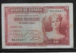 Espagne - 10 Pesetas - 1935 - Pick N°86 - TTB - [ 2] 1931-1936 : République