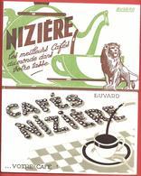 2 Buvards Anciens CAFES NIZIERE -  Illustrés De Lion, Grains De Café, Cafetière, Tasse - Coffee & Tea
