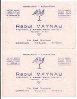 2 Buvards Anciens VINS & SPIRITUEUX - RAOUL MAYNAU à FONTIGNAN (Hérault) COMBAVEL ROCABEL RIVABEL Illustr.OISEAUX Lithog - Alimentare