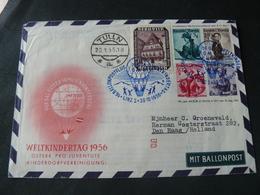 """1956  BEAUTIFUL  LETTER FLIGHT  IN AUSTRIA IN """" BALLONPOST """" ..// BELLA LETTERA VIAGGIATA IN AUSTRIA IN PALLONE - FDC"""