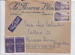 LE FLEUPON BLEU. ENVELOPE SOBRE CIRCULEE PARIS TO BUENOS AIRES CIRCA 1950's.-BLEUP - Covers & Documents