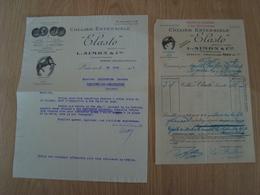 LOT DE 2 FACTURE ET LETTRE ELASTO L.SIMON & Cie COLLIER EXTENSIBLE PARIS 1937 - France