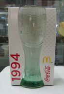 AC - COCA COLA McDONALD'S 1994 GREENISH CLEAR GLASS IN ITS ORIGINAL BOX - Mugs & Glasses