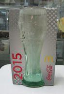 AC - COCA COLA McDONALD'S 2015 GREENISH CLEAR GLASS IN ITS ORIGINAL BOX - Mugs & Glasses