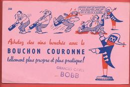 Buvard Ancien - BOUCHON COURONNE - ( CAPSULES)  GRANDES CAVES BOBB -  Illustré Par PIERRE LACROUX - Food