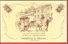 Buvard Ancien VINS GRATIEN & MEYER à SAUMUR -Halte De La Diligence Tirée Par 2 Chevaux -lithographie L.MIETTE  ANGOULEME - Food