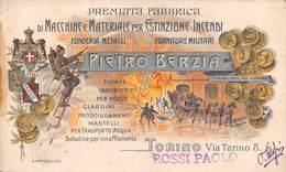 """0030 """"PIETRO BERZIA - TORINO - FABBRICA MACCHINE E MATERIALE PER ESTINZIONE INCENDI""""  POMPIERI.BIGLIETTO DA VISITA ORIG. - Cartes De Visite"""