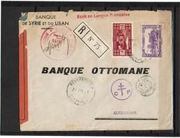LCA5 - GRAND LIBAN LETTRE  RECOMMANDEE  A  DESTINATION D'ALEXANDRIE D'EGYPTE AOÛT 1941 CENSURES - Grand Liban (1924-1945)