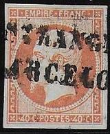 Napoléon  40 C  N° 16  --  Oblitération Espagnole - 1853-1860 Napoléon III
