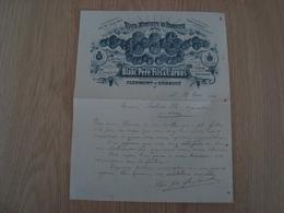 FACTURE BLANC PERE FILS & CARNUS VINS ROUGES ET BLANCS CLERMONT 1908 - France