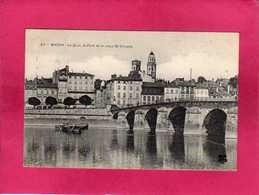 71 Saône Et Loire, Macon, Le Quai, Le Pont Et Le Vieux St-Vincent, Animée, 1908, (M.T.I.L.) - Macon