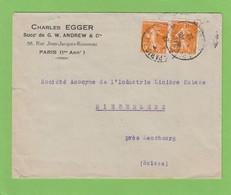 LETTRE AVEC 2 X NO 158 POUR NIEDERLENZ,CACHET D'ARRIVÉE. - 1906-38 Semeuse Camée