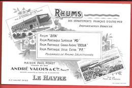 Buvard Ancien - PAUL FORET -ANDRE VALOIS Succ LE HAVRE - RHUMS ZITA - MD - CECILIA - P.F. FOUDRAGES DE RHUMS -FORT DE FR - Liquor & Beer