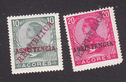 Azores, Scott #128, 130, Mint Hinged, King Manuel II Overprinted, Issued 1910 - Azores