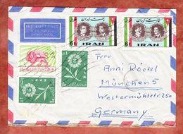 Luftpost, MiF Pfadfinderlilie U.a., Vignette Deutsche Industrie-Ausstellung Teheran, Nach Muenchen 1960 (52191) - Iran