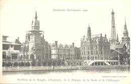 CPA Paris Exposition Universelle 1900 Pavillons De Hongrie  D'Angleterre Belgique Suède Et Allemagne - Mostre