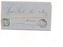2276) 1865 De La Rue 20 Su15c Isolato INTRA X TORINO Completa Testo - Storia Postale