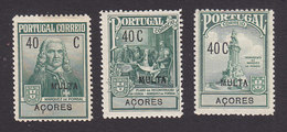 Azores, Scott #RAJ2-RAJ4, Mint Hinged/No Gum, Pombal Issues, Issued 1925 - Azores