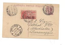 2304) 1922 INTERO POSTALE 25C MICHETTI + ESPRESSO 50 SU 60C  VENEZIA CARAVAGGIO FRAZIONARIO - Interi Postali