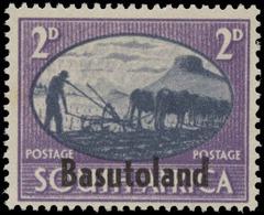 Basutoland Scott # 30b, 2p Violet & Slate (1945) South Africia Stamp Overprinted, Mint Hinged - Basutoland (1933-1966)