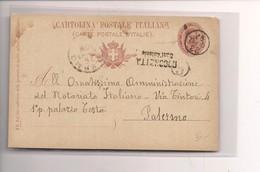 2321) 1897 Annullo Lineare Emergenza Rocchetta Sant'antonio Foggia INTERO UMBERTO - Storia Postale