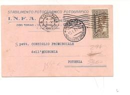 2325) 1931 Sant'antonio 30c Isolato Cartolina Postale Fotografico Torino Potenza - Storia Postale