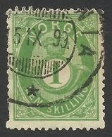 Norway, 1 S. 1875, Sc # 16, Mi # 16c, Used. - Norvège