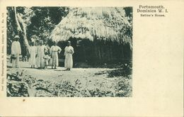 Dominica W.I., PORTSMOUTH, Native House And People (1899) Postcard - Dominica