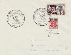 Melun 1963 - Expo Philatélique Jacques Amyot - Lettre Entière - Autographe Decaris - Storia Postale