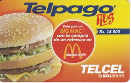 TARJETA DE VENEZUELA DE MACDONALDS DE 15000Bs (TELCEL- BELLSOUTH) - Publicidad