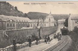 Malonne  Entrée Du Pensionnat  Avec Tram Animée Circulé En 1910 - Namen