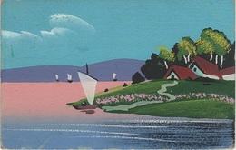 Künstlerkarte AK Unbekannter Künstler Küste Hafen Segelboote Skandinavien Schweden Kurische Nehrung Nidden Selbstgemalt - Künstlerkarten