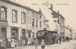 Vielsalm   Maison Ernotte  Arret Du Vicinal Bien Animée Tram  Café Circulé En 1909 - Vielsalm