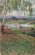 Künstlerkarte AK Unbekannter Künstler See Burg Sommerwiese Kunst Art Malerei Hessen Kassel ? - Künstlerkarten
