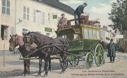 Les Ardennes Illustrées Visite De La Malle Poste à La Frontière Carte Colorisée Circulé En 1909 - Autres Communes