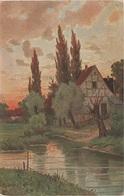 Künstlerkarte AK Unbekannter Künstler Sonnenuntergang Abendrot Haus Am Fluß Kanal Kunst Art Malerei - Künstlerkarten