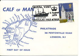 Great Britain Special Cover FDC Calf Of Man Royal Visit 2-8-1972 H.M.Y. Douglas - Isle Of Man With Cachet And Minisheet - 1952-.... (Elizabeth II)