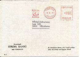 Faroe Islands Bank Cover With Meter Cancel Torshavn 12-3-1976 (Föroya Banki) - Faroe Islands