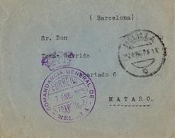 1925 , MELILLA - MATARÓ , SOBRE CIRCULADO , FRANQUICIA COMANDANCIA GENERAL DE MELILLA - 1889-1931 Regno: Alfonso XIII