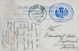 1907 , BARCELONA , TARJETA POSTAL , FRANQUICIA , ADMINISTRACIÓN PRINCIPAL CORREOS BARCELONA / CARTERIA - 1889-1931 Regno: Alfonso XIII