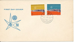 Liechtenstein FDC 18-3-1958 Expo 58 Brussel Complete Set Of 2 With Cachet - FDC