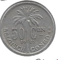 *Belgian Congo 50 Centimes 1925 Dutch  Km 23  Vf+ - 1910-1934: Albert I