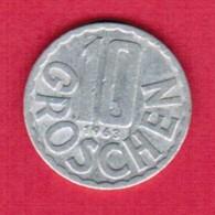 AUSTRIA   10 GROSCHEN 1963 (KM # 2878) #5140 - Austria