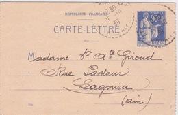 Carte Lettre 26 10 1939 - Cachet  HTE ALPES  POUR LAGNIEU (01) - TIMBRE À 0,90 CTS TYPE PAIX - Cartes-lettres