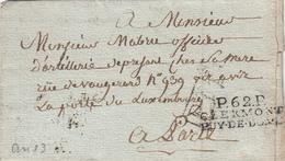 PUY DE DOME LAC 20 FRIMAIRE AN 13 (11/12/1804) P.62.P. / CLERMONT / PUY - DE - DOME - Marcofilia (sobres)